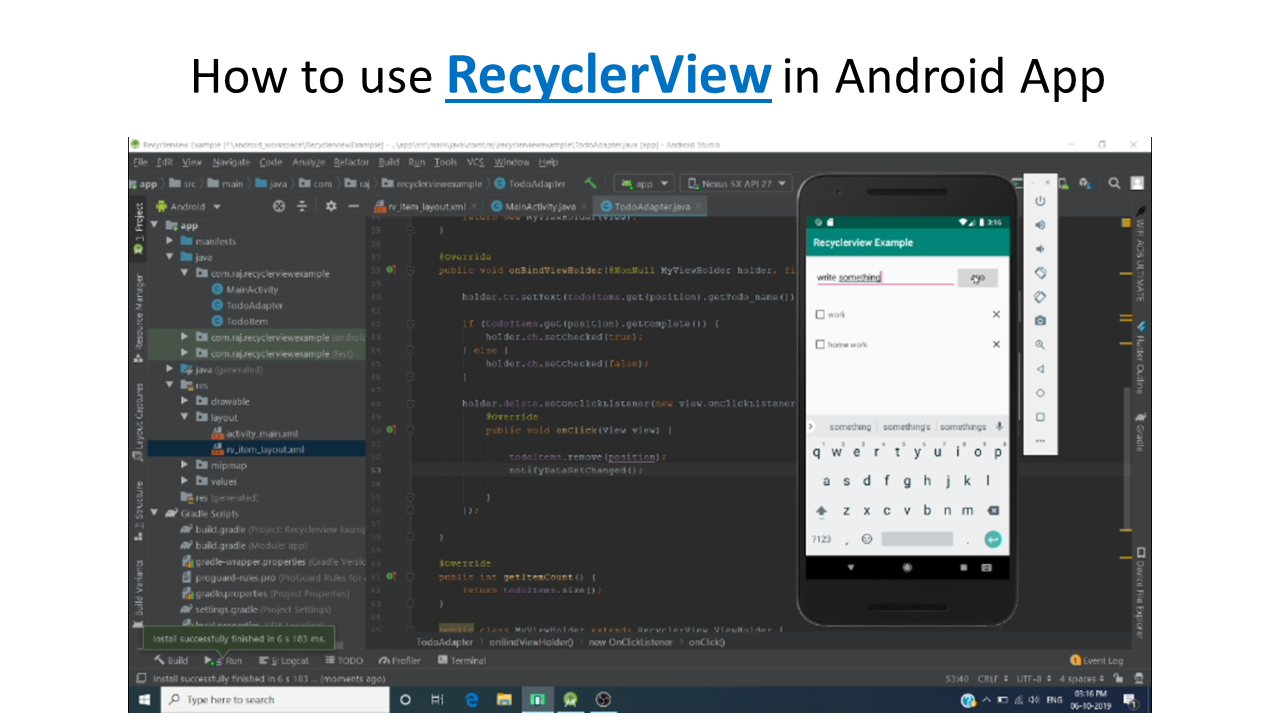 RecyclerView example in android java